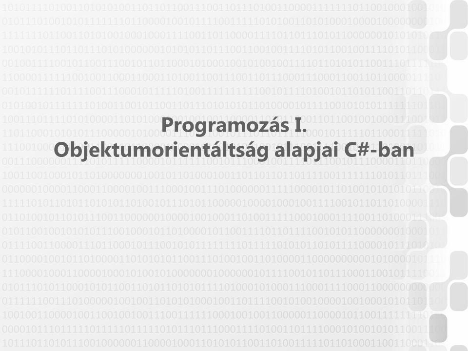 Programozás I. Objektumorientáltság alapjai C#-ban