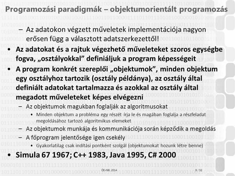9 / 52 ÓE-NIK, 2014 Programozási paradigmák – objektumorientált programozás –Az adatokon végzett műveletek implementációja nagyon erősen függ a válasz