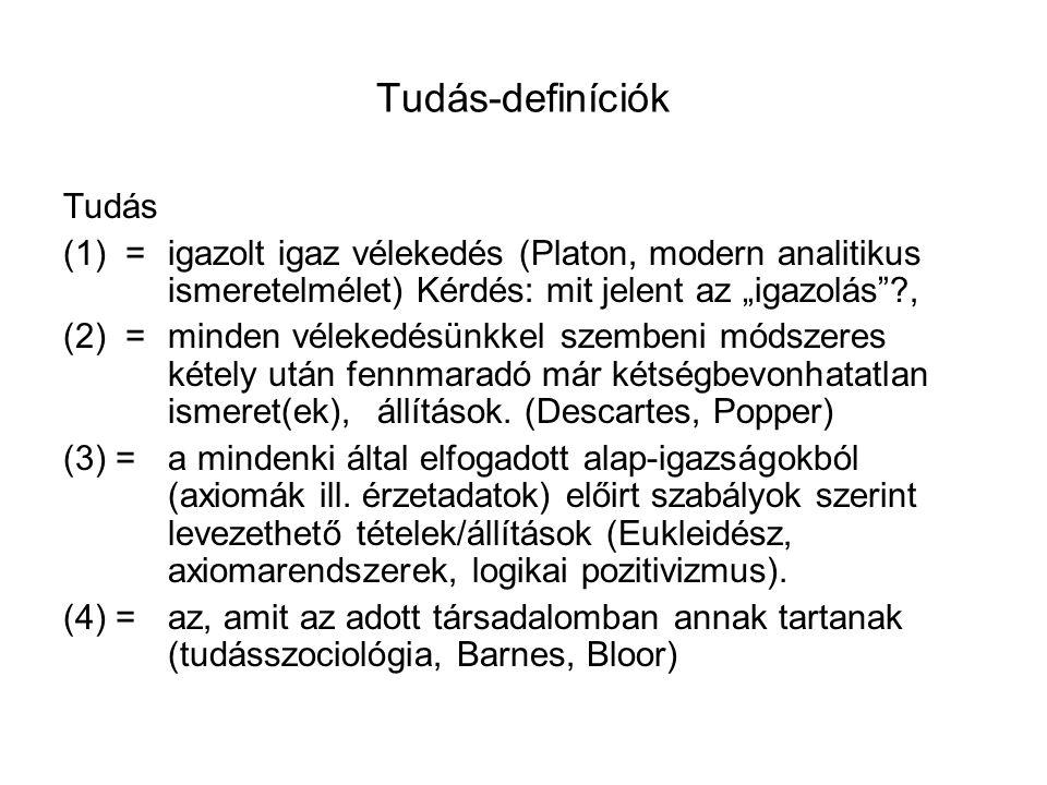 """Tudás-definíciók Tudás (1) =igazolt igaz vélekedés (Platon, modern analitikus ismeretelmélet) Kérdés: mit jelent az """"igazolás""""?, (2) =minden vélekedés"""