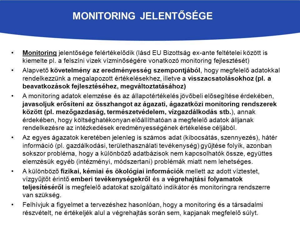 Monitoring jelentősége felértékelődik (lásd EU Bizottság ex-ante feltételei között is kiemelte pl. a felszíni vizek vízminőségére vonatkozó monitoring