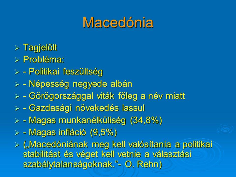"""Macedónia  Tagjelölt  Probléma:  - Politikai feszültség  - Népesség negyede albán  - Görögországgal viták főleg a név miatt  - Gazdasági növekedés lassul  - Magas munkanélküliség (34,8%)  - Magas infláció (9,5%)  (""""Macedóniának meg kell valósítania a politikai stabilitást és véget kell vetnie a választási szabálytalanságoknak. - O."""