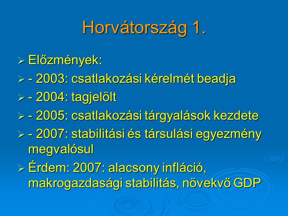 Horvátország 1.  Előzmények:  - 2003: csatlakozási kérelmét beadja  - 2004: tagjelölt  - 2005: csatlakozási tárgyalások kezdete  - 2007: stabilit