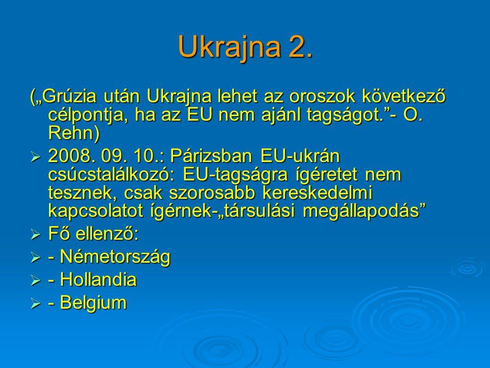 """Ukrajna 2. (""""Grúzia után Ukrajna lehet az oroszok következő célpontja, ha az EU nem ajánl tagságot.""""- O. Rehn)  2008. 09. 10.: Párizsban EU-ukrán csú"""