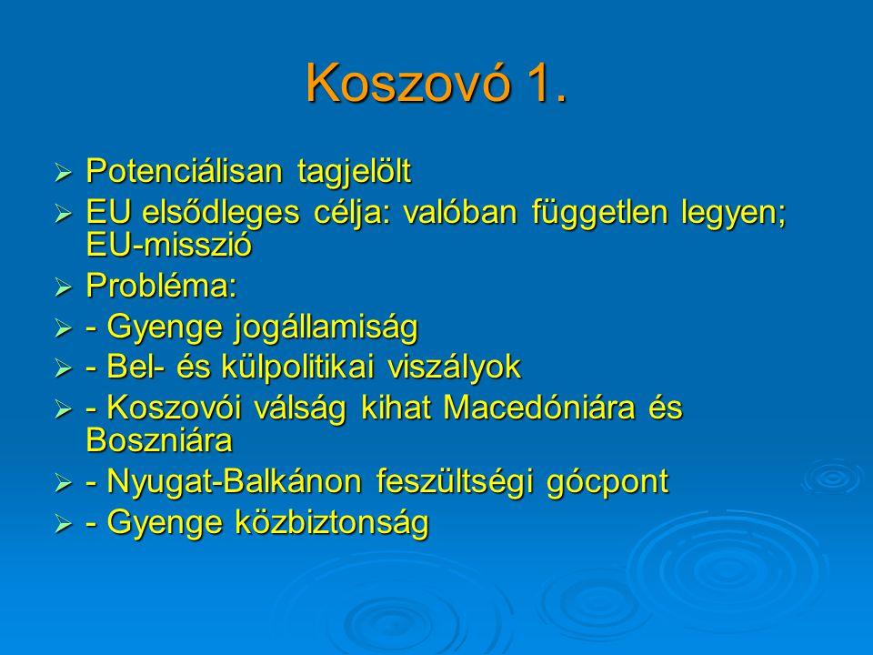 Koszovó 1.  Potenciálisan tagjelölt  EU elsődleges célja: valóban független legyen; EU-misszió  Probléma:  - Gyenge jogállamiság  - Bel- és külpo