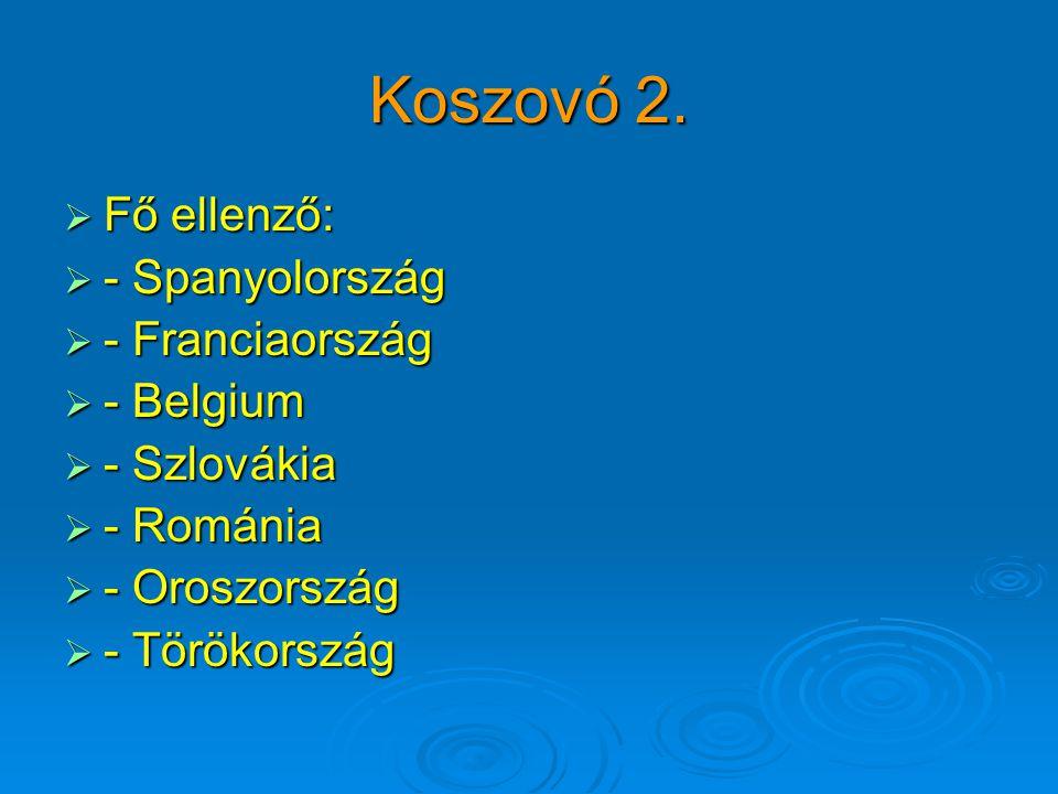 Koszovó 2.  Fő ellenző:  - Spanyolország  - Franciaország  - Belgium  - Szlovákia  - Románia  - Oroszország  - Törökország