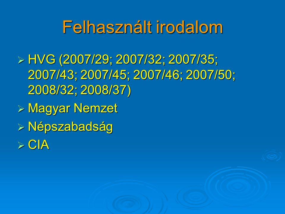 Felhasznált irodalom  HVG (2007/29; 2007/32; 2007/35; 2007/43; 2007/45; 2007/46; 2007/50; 2008/32; 2008/37)  Magyar Nemzet  Népszabadság  CIA