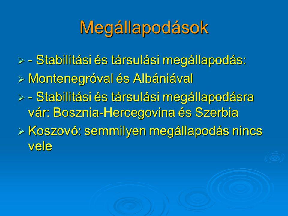 Megállapodások  - Stabilitási és társulási megállapodás:  Montenegróval és Albániával  - Stabilitási és társulási megállapodásra vár: Bosznia-Hercegovina és Szerbia  Koszovó: semmilyen megállapodás nincs vele