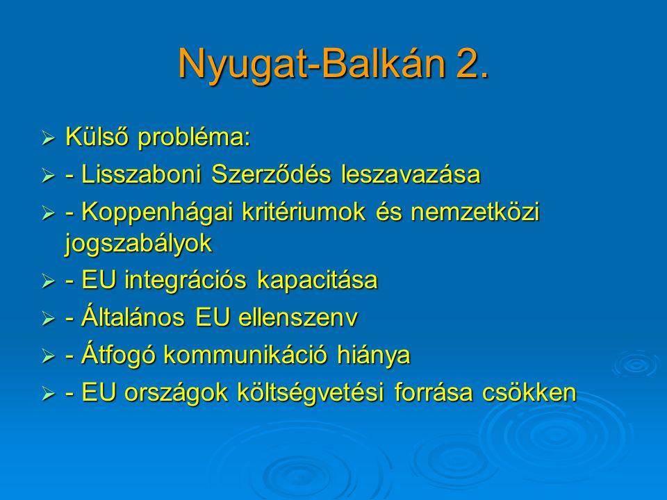 Nyugat-Balkán 2.  Külső probléma:  - Lisszaboni Szerződés leszavazása  - Koppenhágai kritériumok és nemzetközi jogszabályok  - EU integrációs kapa