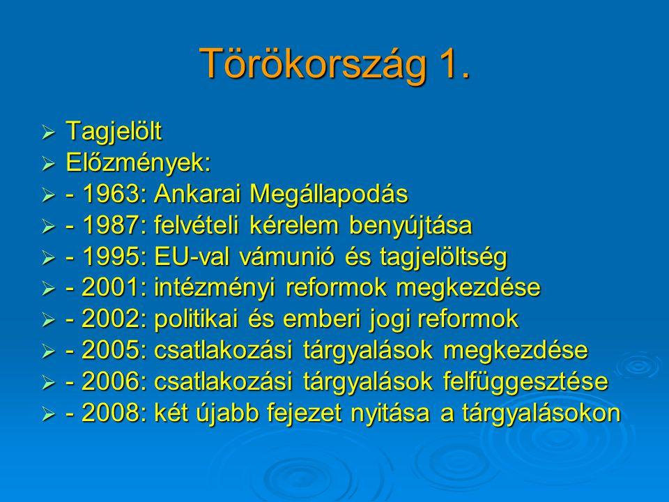 Törökország 1.  Tagjelölt  Előzmények:  - 1963: Ankarai Megállapodás  - 1987: felvételi kérelem benyújtása  - 1995: EU-val vámunió és tagjelöltsé