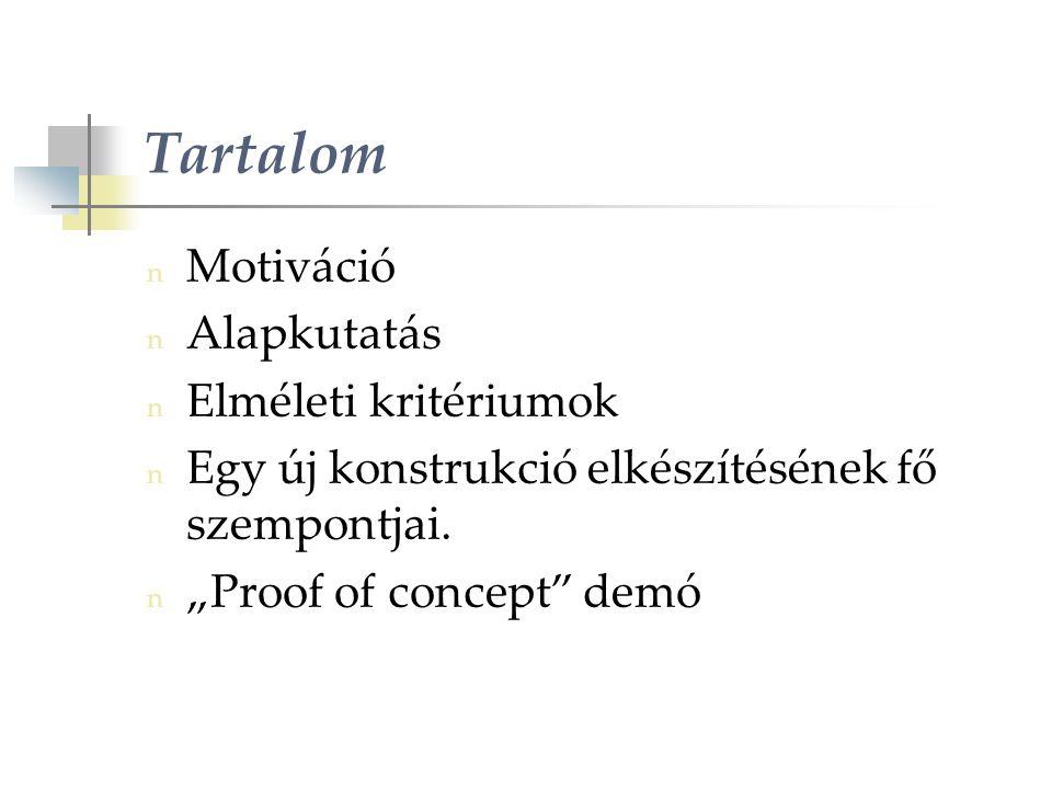 Tartalom n Motiváció n Alapkutatás n Elméleti kritériumok n Egy új konstrukció elkészítésének fő szempontjai.