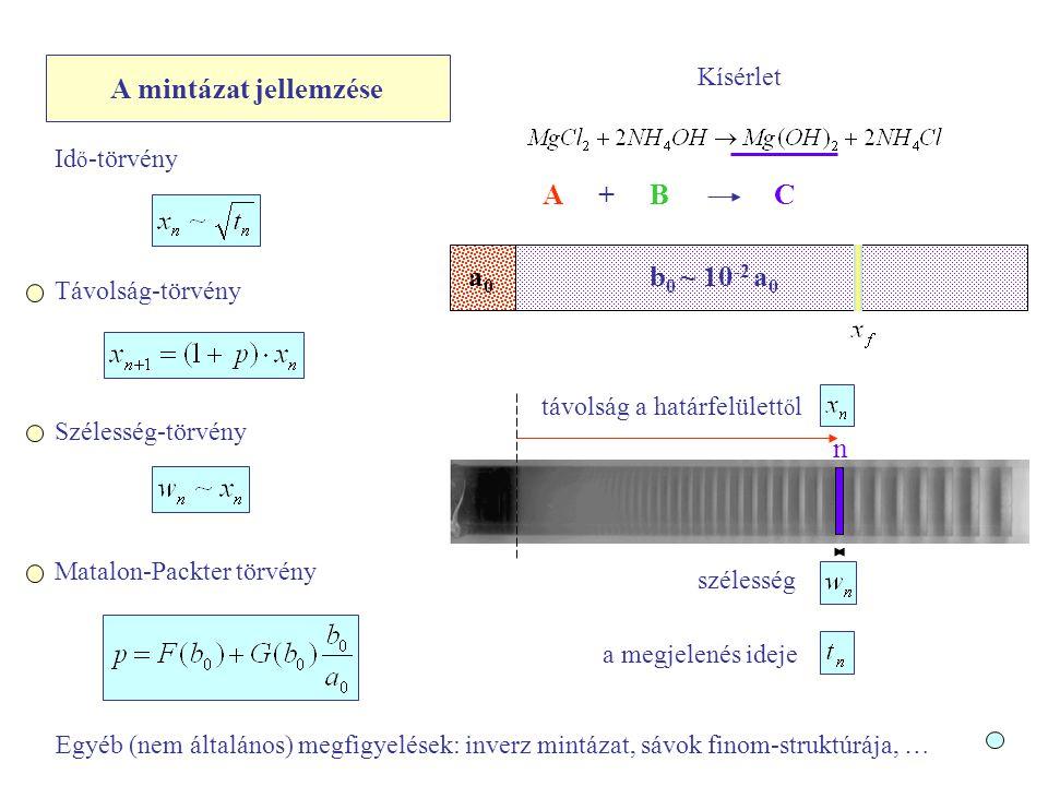 A mintázat jellemzése Kísérlet Matalon-Packter törvény a0a0 b 0 ~ 10 -2 a 0 A +BC távolság a határfelülett ő l a megjelenés ideje szélesség Szélesség-törvény Távolság-törvény Id ő -törvény n Egyéb (nem általános) megfigyelések: inverz mintázat, sávok finom-struktúrája, …