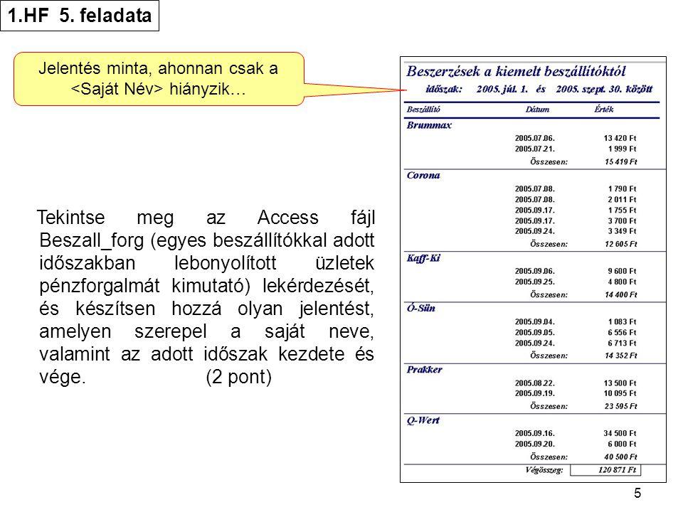 5 1.HF 5. feladata Tekintse meg az Access fájl Beszall_forg (egyes beszállítókkal adott időszakban lebonyolított üzletek pénzforgalmát kimutató) lekér