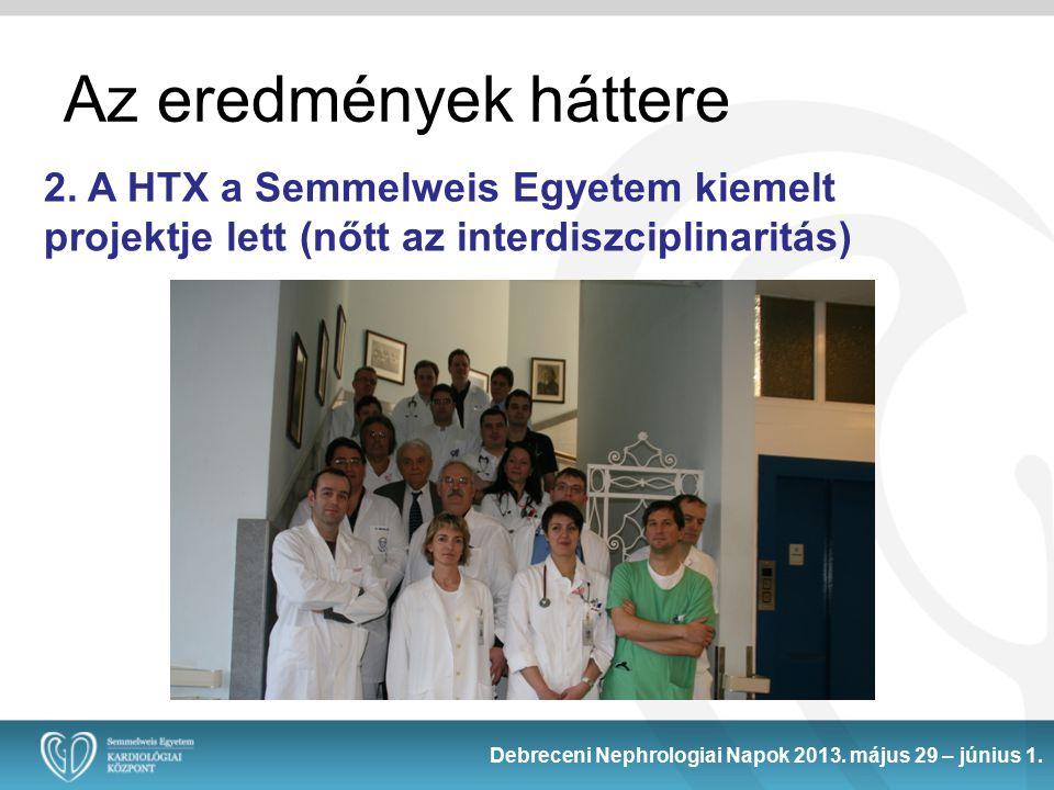 2. A HTX a Semmelweis Egyetem kiemelt projektje lett (nőtt az interdiszciplinaritás) Debreceni Nephrologiai Napok 2013. május 29 – június 1. Az eredmé