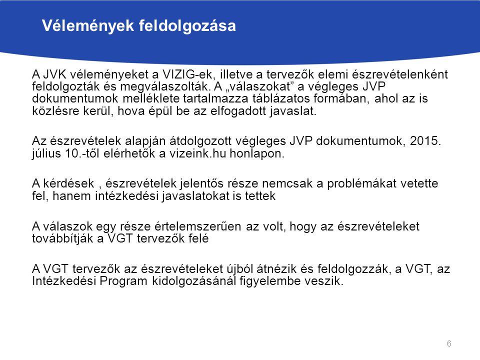 A JVK véleményeket a VIZIG-ek, illetve a tervezők elemi észrevételenként feldolgozták és megválaszolták.