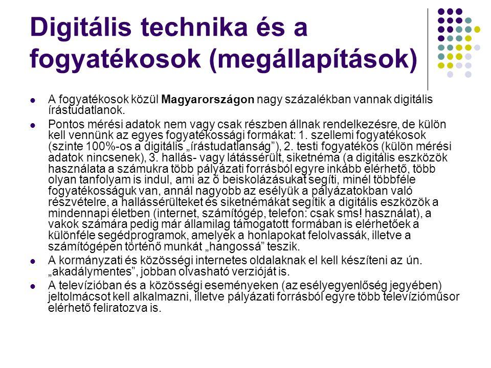 Digitális technika és a fogyatékosok (megállapítások) A fogyatékosok közül Magyarországon nagy százalékban vannak digitális írástudatlanok.