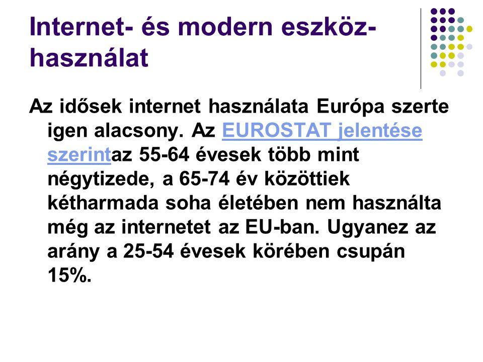 Internet- és modern eszköz- használat Az idősek internet használata Európa szerte igen alacsony.