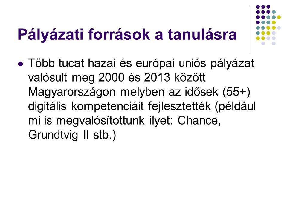 Pályázati források a tanulásra Több tucat hazai és európai uniós pályázat valósult meg 2000 és 2013 között Magyarországon melyben az idősek (55+) digitális kompetenciáit fejlesztették (például mi is megvalósítottunk ilyet: Chance, Grundtvig II stb.)