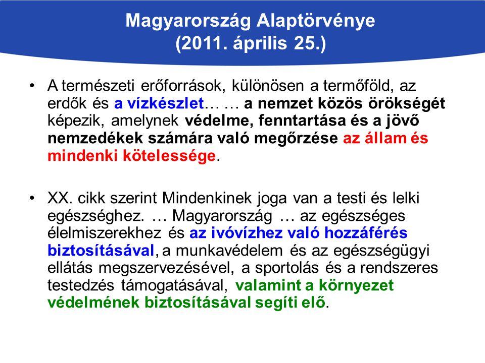 Magyarország Alaptörvénye (2011. április 25.) A természeti erőforrások, különösen a termőföld, az erdők és a vízkészlet… … a nemzet közös örökségét ké