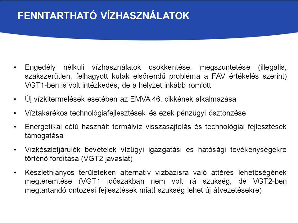 Engedély nélküli vízhasználatok csökkentése, megszüntetése (illegális, szakszerűtlen, felhagyott kutak elsőrendű probléma a FAV értékelés szerint) VGT