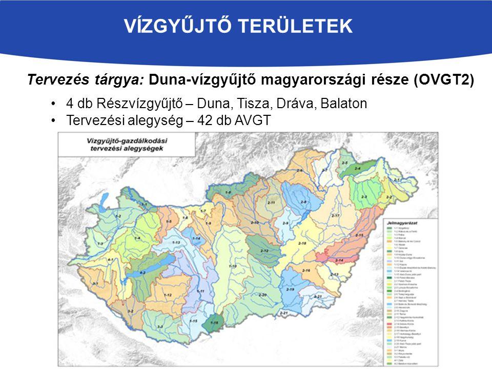 VÍZGYŰJTŐ TERÜLETEK Tervezés tárgya: Duna-vízgyűjtő magyarországi része (OVGT2) 4 db Részvízgyűjtő – Duna, Tisza, Dráva, Balaton Tervezési alegység –