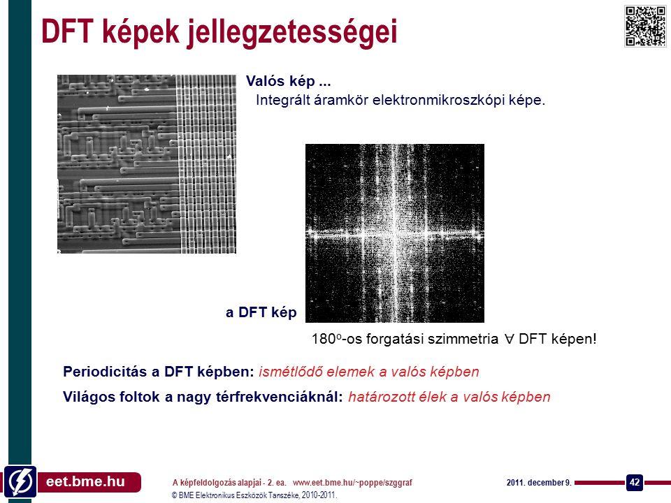 © BME Elektronikus Eszközök Tanszéke, 2010-2011. eet.bme.hu 2011. december 9. A képfeldolgozás alapjai - 2. ea. www.eet.bme.hu/~poppe/szggraf 42 DFT k