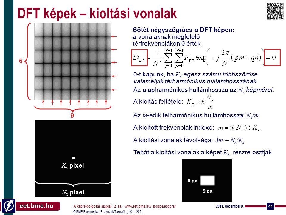 © BME Elektronikus Eszközök Tanszéke, 2010-2011. eet.bme.hu 2011. december 9. A képfeldolgozás alapjai - 2. ea. www.eet.bme.hu/~poppe/szggraf 44 DFT k