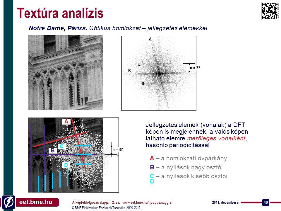 © BME Elektronikus Eszközök Tanszéke, 2010-2011. eet.bme.hu 2011. december 9. A képfeldolgozás alapjai - 2. ea. www.eet.bme.hu/~poppe/szggraf 48 Textú