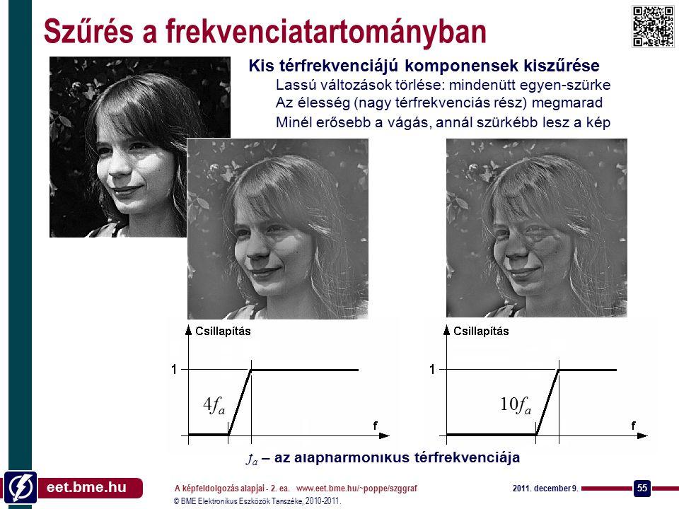 © BME Elektronikus Eszközök Tanszéke, 2010-2011. eet.bme.hu 2011. december 9. A képfeldolgozás alapjai - 2. ea. www.eet.bme.hu/~poppe/szggraf 55 10f a