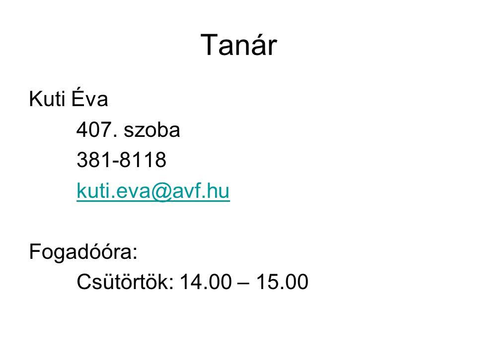 Tanár Kuti Éva 407. szoba 381-8118 kuti.eva@avf.hu Fogadóóra: Csütörtök: 14.00 – 15.00