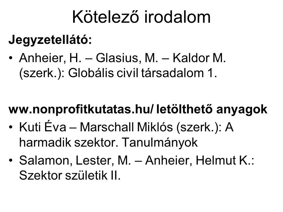 Kötelező irodalom Jegyzetellátó: Anheier, H. – Glasius, M.