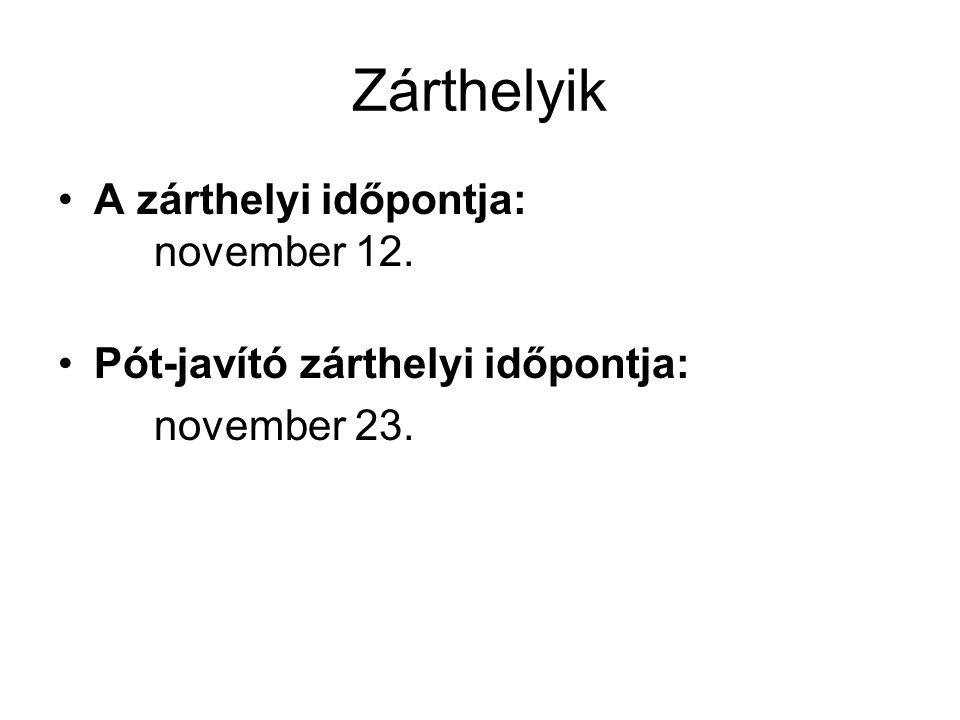 Zárthelyik A zárthelyi időpontja: november 12. Pót-javító zárthelyi időpontja: november 23.