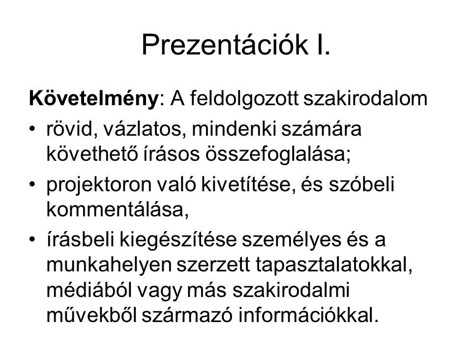 Prezentációk I.