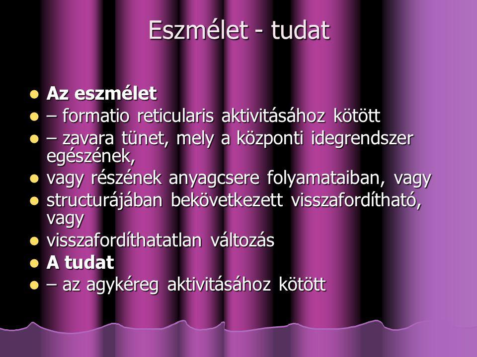 Eszmélet - tudat Az eszmélet Az eszmélet – formatio reticularis aktivitásához kötött – formatio reticularis aktivitásához kötött – zavara tünet, mely