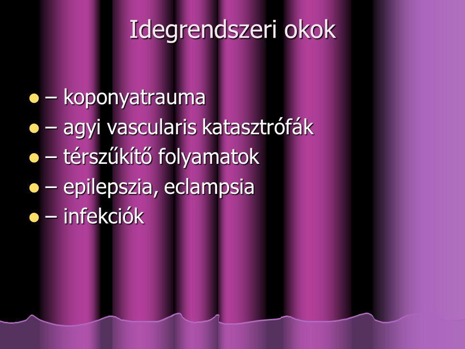 Idegrendszeri okok – koponyatrauma – koponyatrauma – agyi vascularis katasztrófák – agyi vascularis katasztrófák – térszűkítő folyamatok – térszűkítő folyamatok – epilepszia, eclampsia – epilepszia, eclampsia – infekciók – infekciók