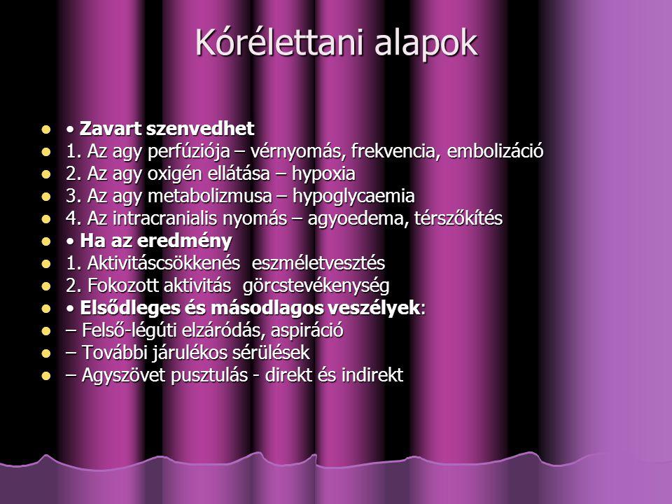 Tudatzavarok felosztása megjelenési forma szerint paroxysmalis: SYNCOPE, epilepsia, paroxysmalis: SYNCOPE, epilepsia, nem epilepsiás convulsiok nem epilepsiás convulsiok nem paroxismalis: aluszékonyságtól a nem paroxismalis: aluszékonyságtól a kómáig terjedő skála psychogén eredet psychogén eredet