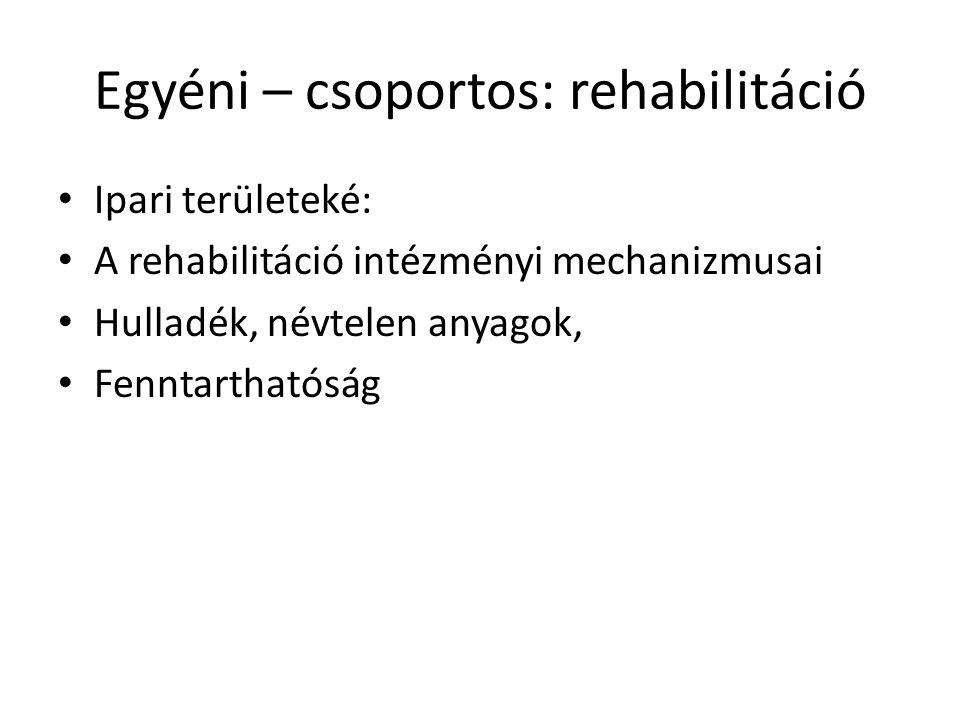 Egyéni – csoportos: rehabilitáció Ipari területeké: A rehabilitáció intézményi mechanizmusai Hulladék, névtelen anyagok, Fenntarthatóság