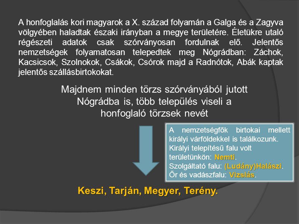 A honfoglalás kori magyarok a X. század folyamán a Galga és a Zagyva völgyében haladtak északi irányban a megye területére. Életükre utaló régészeti a