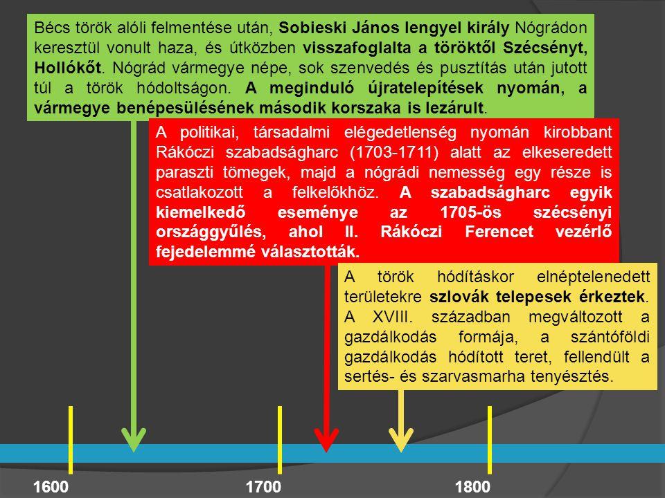 1600 Bécs török alóli felmentése után, Sobieski János lengyel király Nógrádon keresztül vonult haza, és útközben visszafoglalta a töröktől Szécsényt,