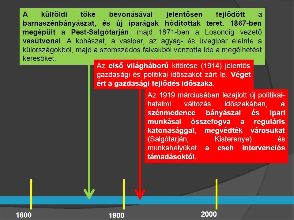 1800 1900 2000 A külföldi tőke bevonásával jelentősen fejlődött a barnaszénbányászat, és új iparágak hódítottak teret. 1867-ben megépült a Pest-Salgót