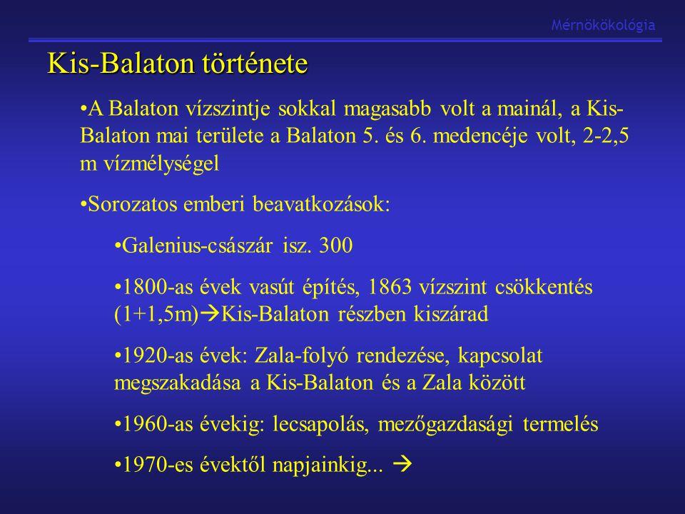 """Mérnökökológia Balaton eutrofizációja Balaton: sokáig csak """"nyűg (lecsapolni, stb…) Átértékelődött: értékes üdülőterületté Eutrofizálódás első jelei: 1940-es években megmutatkoztak Hínárosodás, algásodás, kékalgák okozta vízvirágzások 1970-1980 eutróf-hipertróf állapot (a-kl>200mg/L) """"Használati érték erősen lecsökkent 1971-ben Balatoni vízgazdálkodási fejlesztési program 1976-ban Minisztertanácsi rendelet a vízminőségromlás megállítására, 1979-ben átdolgozták Kutatási programok"""