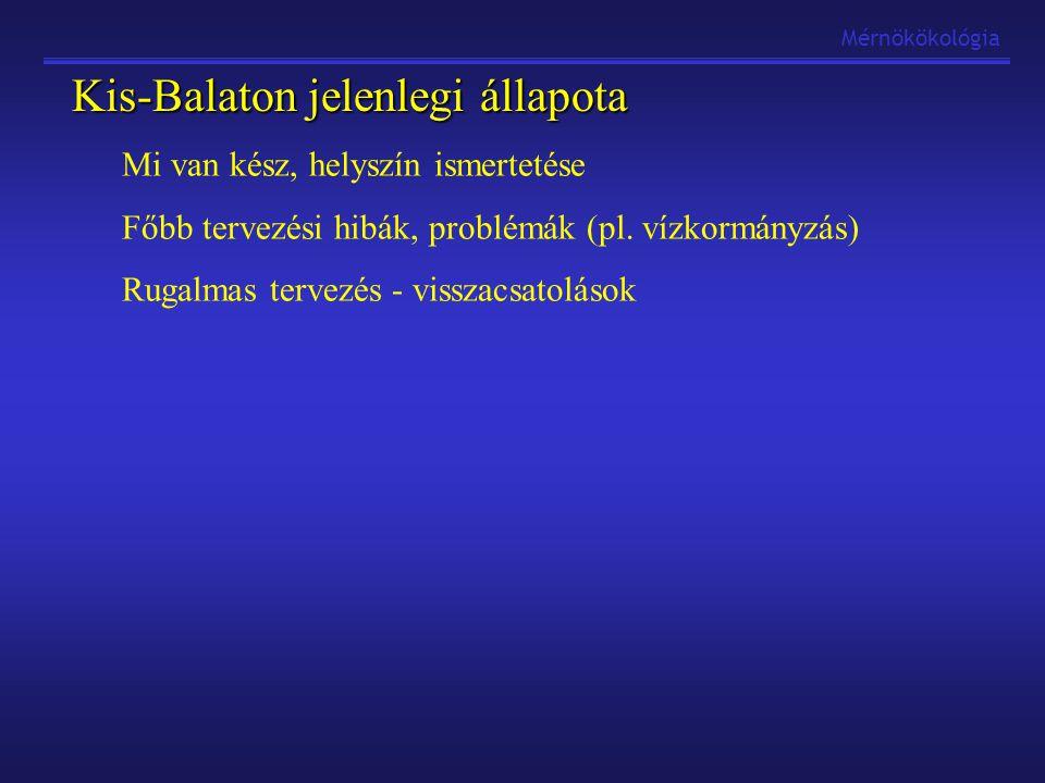 Kis-Balaton jelenlegi állapota Mi van kész, helyszín ismertetése Főbb tervezési hibák, problémák (pl. vízkormányzás) Rugalmas tervezés - visszacsatolá