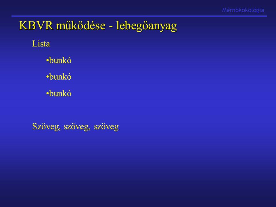 Lista bunkó Szöveg, szöveg, szöveg KBVR működése - lebegőanyag