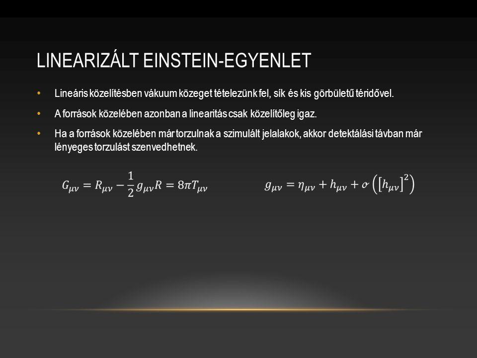 LINEARIZÁLT EINSTEIN-EGYENLET Lineáris közelítésben vákuum közeget tételezünk fel, sík és kis görbületű téridővel.