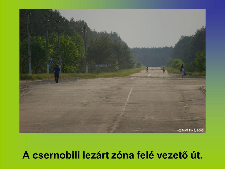 A csernobili lezárt zóna felé vezető út.