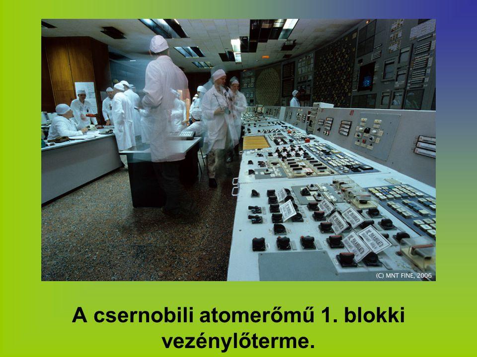 A csernobili atomerőmű 1. blokki vezénylőterme.