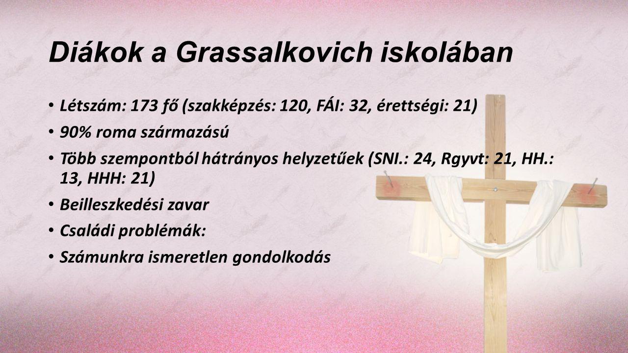 Diákok a Grassalkovich iskolában Létszám: 173 fő (szakképzés: 120, FÁI: 32, érettségi: 21) 90% roma származású Több szempontból hátrányos helyzetűek (