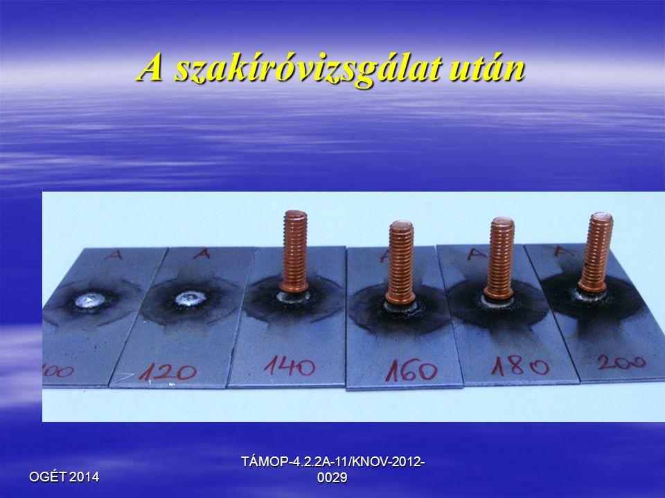 OGÉT 2014 TÁMOP-4.2.2A-11/KNOV-2012- 0029 A szakíróvizsgálat után