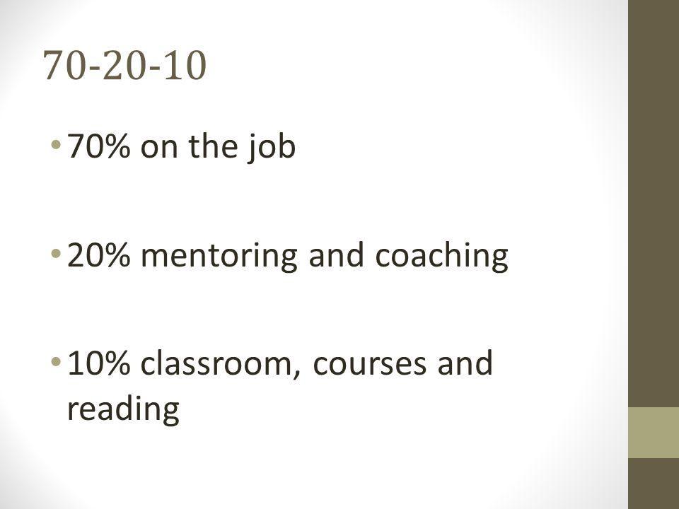 70-20-10 70% on the job 20% mentoring and coaching 10% classroom, courses and reading