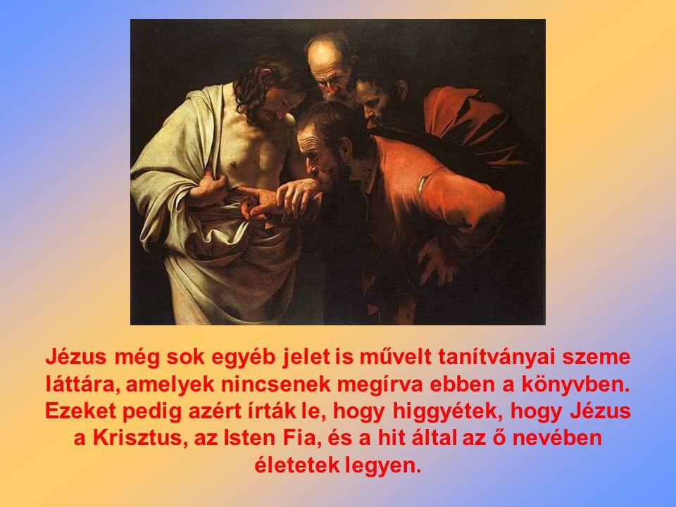 Jézus még sok egyéb jelet is művelt tanítványai szeme láttára, amelyek nincsenek megírva ebben a könyvben.