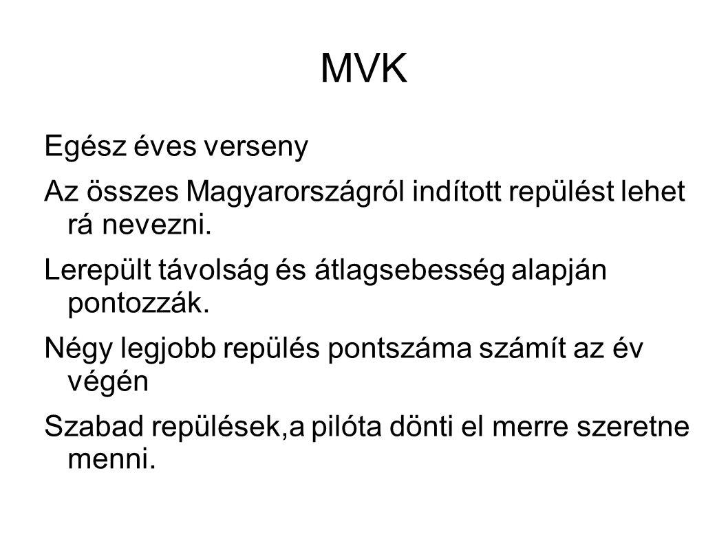 MVK Egész éves verseny Az összes Magyarországról indított repülést lehet rá nevezni. Lerepült távolság és átlagsebesség alapján pontozzák. Négy legjob